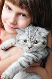 Enfant étreignant le chaton blanc argenté de chat Image libre de droits