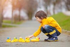 Enfant adorable, garçon, jouant en parc avec les canards en caoutchouc, ayant f Photos libres de droits