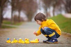Enfant adorable, garçon, jouant en parc avec les canards en caoutchouc, ayant f Photographie stock libre de droits