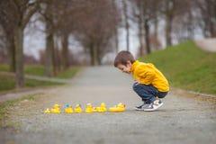 Enfant adorable, garçon, jouant en parc avec les canards en caoutchouc, ayant f Photo libre de droits