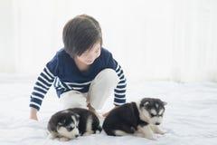 Enfant asiatique mignon jouant avec le chiot de chien de traîneau sibérien Photo libre de droits