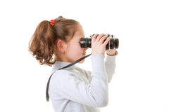 Enfant avec des jumelles Images libres de droits