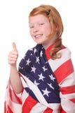 Enfant avec l'indicateur des Etats-Unis Photos stock