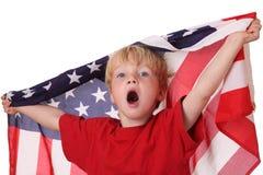Enfant avec l'indicateur des Etats-Unis Photos libres de droits