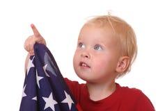 Enfant avec l'indicateur des Etats-Unis Images libres de droits