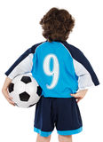 Enfant avec la bille de football Images stock