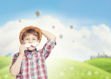 Enfant avec la moustache Photo libre de droits
