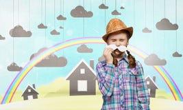 Enfant avec la moustache Image libre de droits