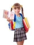 Enfant avec la pile des livres. Photo stock
