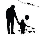 Enfant avec la silhouette d'illustration de papa Images libres de droits