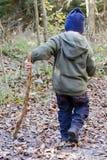Enfant avec le bâton dans la forêt image libre de droits