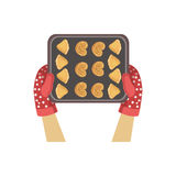 Enfant avec le biscuit Tray Illustration Only Hands Visible d'en haut Image libre de droits