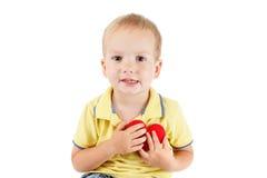 Enfant avec le blanc de symbole de coeur Concept de l'amour et de la santé Images libres de droits