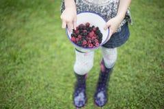 Enfant avec le bol de mûres et de framboises fraîches photos libres de droits