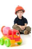 Enfant avec le casque antichoc Photos stock
