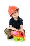 Enfant avec le casque antichoc Images libres de droits