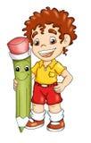 Enfant avec le crayon illustration libre de droits