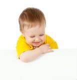 Enfant avec le drapeau de publicité blanc Photographie stock