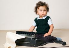 Enfant avec le fax. image stock