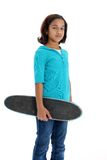 Enfant avec le fond de blanc de planche à roulettes Images stock