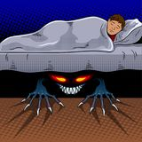Enfant avec le monstre sous le vecteur d'art de bruit de lit Images libres de droits