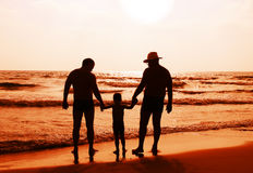 Enfant avec le père et le grandfathe Image stock