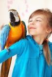 Enfant avec le perroquet d'ara Image libre de droits