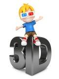 Enfant avec le verre 3d Photo libre de droits