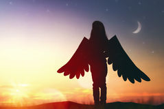 Enfant avec les ailes d'un oiseau image stock
