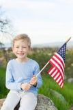 Enfant célébrant le 4ème juillet Photographie stock