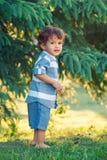 Enfant coloré de garçon dans la chemise bleue et shorts se tenant dans le pré de champ dehors photos stock