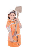 Enfant comme travailleur de la construction d'isolement sur le blanc Photos libres de droits