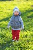 Enfant d'enfant en bas âge dans la veste chaude de gilet dehors Bébé garçon au parc images libres de droits