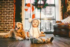 Enfant d'homme d'amitié et animal familier de chien Vacances d'hiver de nouvelle année de Noël de thème Le rampement de bébé garç photos stock