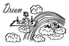 Enfant d'isolat de dessin de photo se reposant sur une couverture avec des jouets rêvant du vol parmi des nuages, croquis, vecteu Photo stock