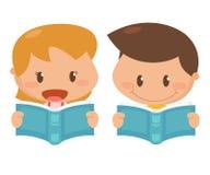 Enfant dans l'action Livres de lecture photos stock