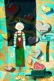 Enfant dans la carte de Valentine d'amour Photographie stock libre de droits