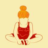 Enfant dans la pratique en matière se reposante de robe rouge pour la danse de ballet | illustration mignonne de petite fille d'i Photo libre de droits