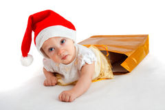 Enfant dans le chapeau de Noël Image libre de droits