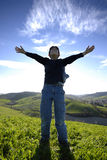 Enfant dans le ciel Photos stock
