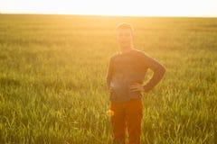 Enfant dans le pré dans l'herbe grande au coucher du soleil Photographie stock