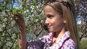 Enfant dans le verger, fille jouant avec le pétale de fleurs de ressort en parc, enfant extérieur clips vidéos