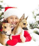 Enfant dans un chapeau de Santa Claus Photographie stock