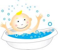 enfant de bain ayant Photographie stock