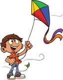 Enfant de bande dessinée pilotant un cerf-volant Photo libre de droits