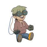 Enfant de Chibi avec des verres de réalité virtuelle illustration stock