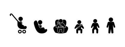 Enfant de chiffre de bâton dans un siège de voiture illustration libre de droits