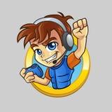 Enfant de Gamer avec Joypad en cercle d'or Illustration Stock
