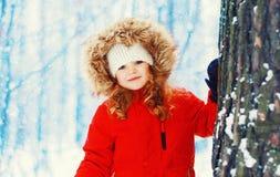 Enfant de sourire heureux de petite fille de portrait d'hiver près d'arbre au-dessus de neigeux photographie stock libre de droits
