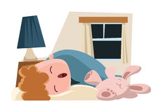 Enfant dormant avec son personnage de dessin animé d'illustration de lapin Image libre de droits